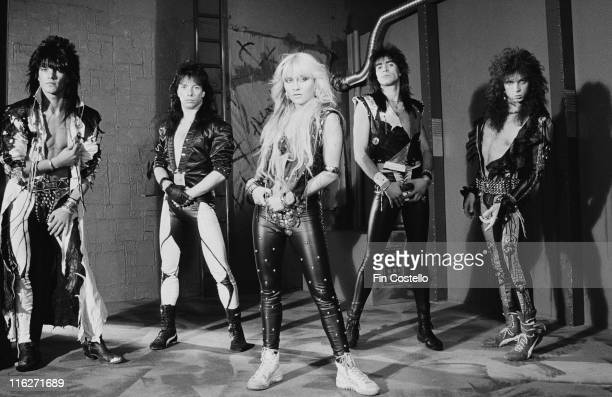 Warlock German heavy metal band pose for a group portrait at Rufus Street Studios on Rufus Street London England Great Britain in August 1986