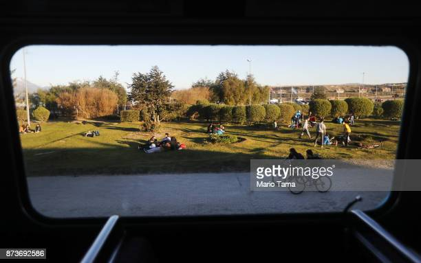 A warm afternoon as viewed from the window of a vintage London Routemaster bus used for tourist tours on November 5 2017 in Ushuaia Argentina Ushuaia...