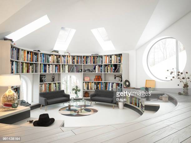 warm and cozy attic interior - library stock photos and pictures