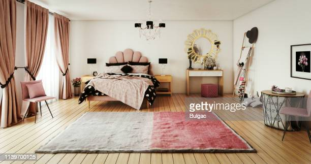 warm and cozy bedroom - carpet decor stock pictures, royalty-free photos & images