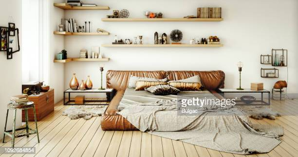 warm and cozy home interior - messy stock pictures, royalty-free photos & images