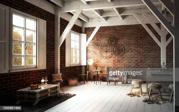warm and cozy rustic interior - rustic stock pictures, royalty-free photos & images
