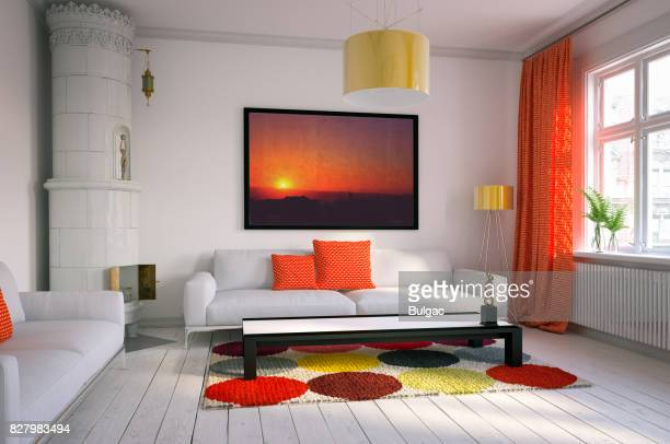warm and cozy scandinavian living room - rug stock pictures, royalty-free photos & images