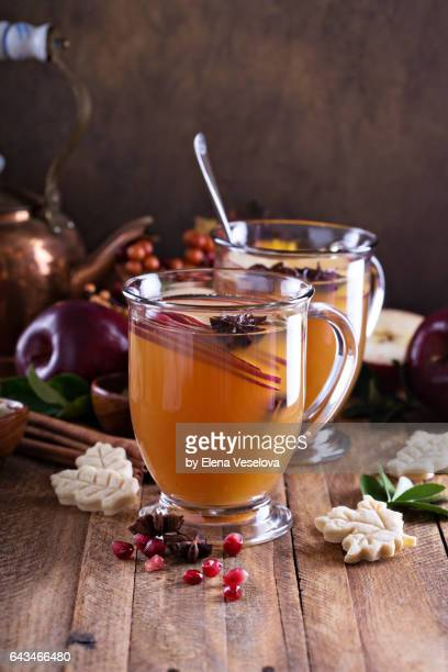 Warm apple cider with spices