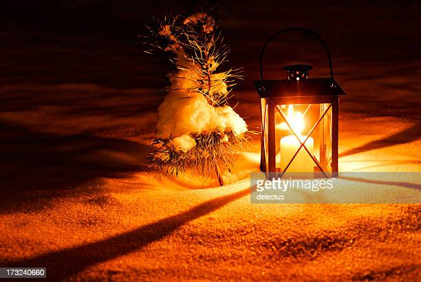 Warm candle light in the lantern