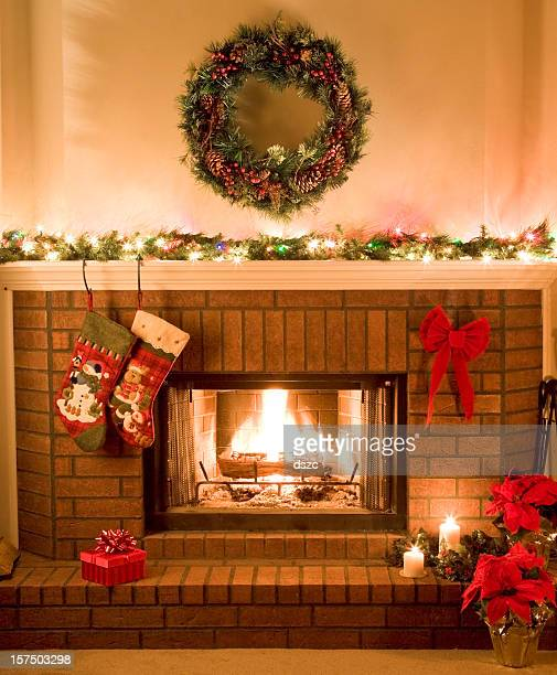 warm, cheery, Christmas fireplace