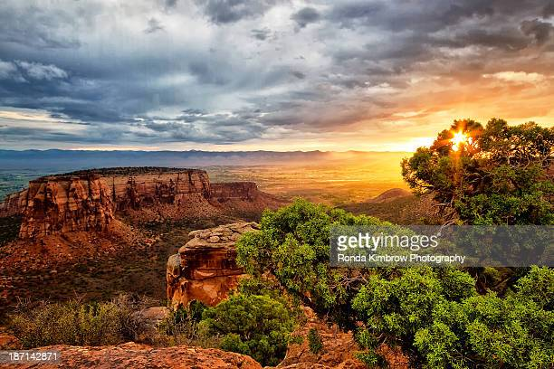 warm glow on the colorado national monument - colorado national monument stock-fotos und bilder