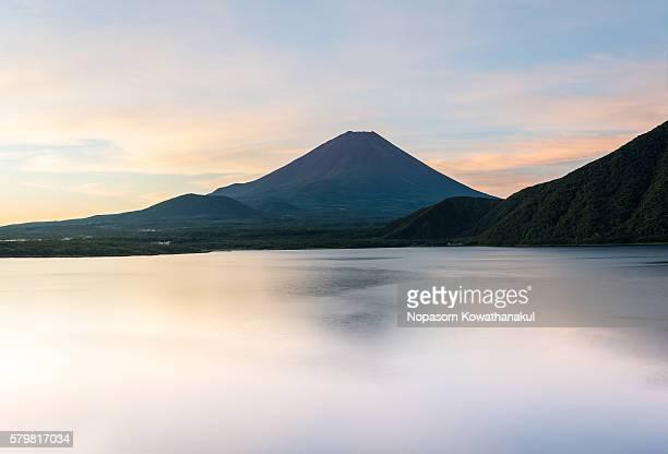 A warm morning of Mt. Fuji in Motosu lake