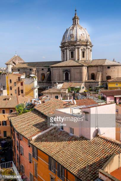 a warm sunset light illuminates the roofs of rome and sant'andrea della valle - tosca opera stock pictures, royalty-free photos & images