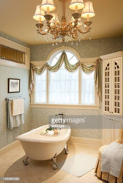 Warm traditional styled master bath with clawfoot.