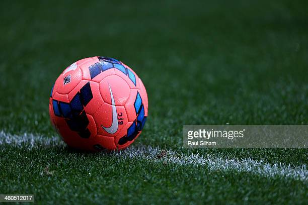 A warm up ball sits on the turf prior to the FA Cup with Budweiser Third round match between Southampton and Burnley at St Mary's Stadium on January...