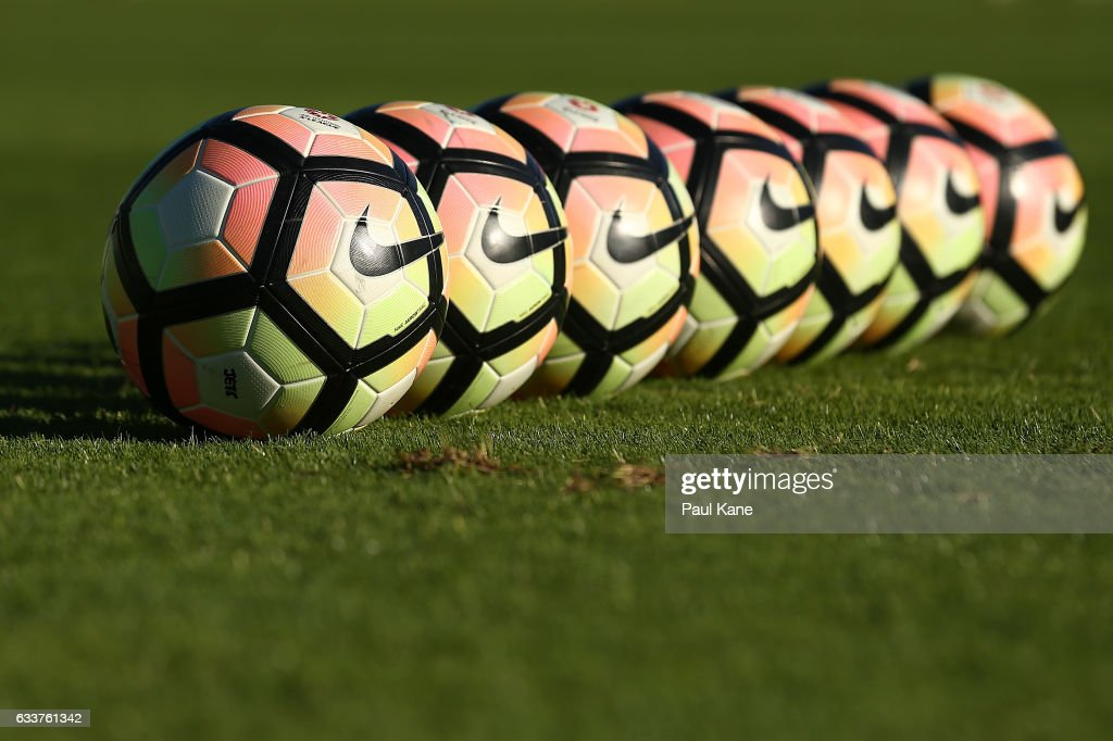 Warm up balls a set up in place before the round 18 A-League match between the Perth Glory and the Newcastle Jets at nib Stadium on February 4, 2017 in Perth, Australia.
