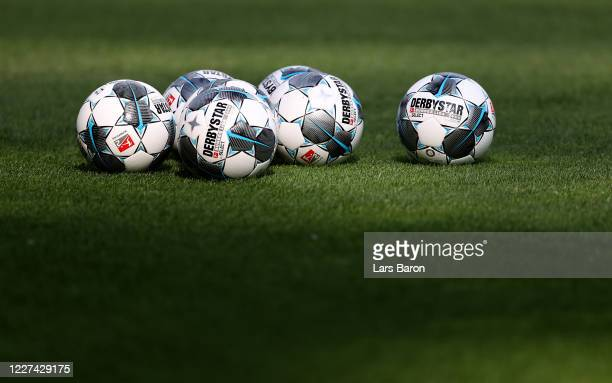 Warm up balls are seen prior to the Second Bundesliga match between VfL Bochum 1848 and Holstein Kiel at Vonovia Ruhrstadion on May 27 2020 in Bochum...