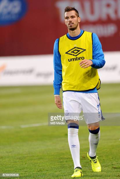 Warm up Morgan Schneiderlin reacts during the UEFA Europa League Qualifier between MFK Ruzomberok and Everton on August 3 2017 in Ruzomberok Slovakia