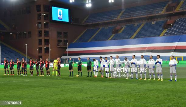 Warm up with the Teams of Genoa CFC and UC Sampdoria before the Coppa Italia match between UC Sampdoria and Genoa CFC at Stadio Luigi Ferraris on...