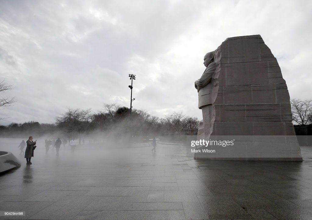 Warm weather causes fog to rise from the ice on the Tidal Basin near the Martin Luther King Jr. memorial on January 12, 2018 in Washington, DC.