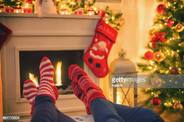 Warming and Relaxing Near Fireplace for The Christmas