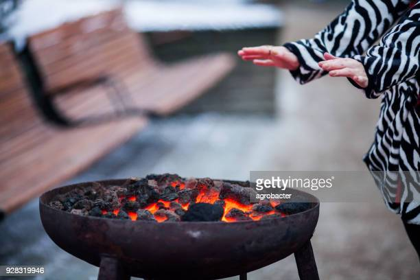 warming up around barbecue - ash stock pictures, royalty-free photos & images