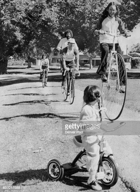 Warming Up For 'Silver Spokes Cyclethon' Holly Jump of Littleton March of Dimes poster child watches cyclists d warm up for the 50kilometer Silver...