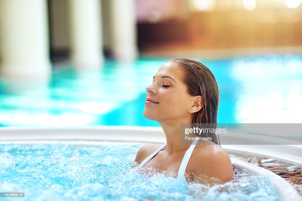 Warming up the hot tub! : Stock Photo
