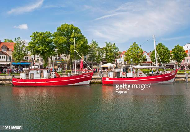Warnemunde waterfront with traditional fishing boats