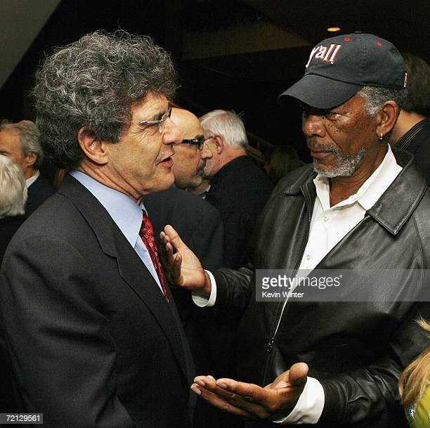 Warner Bros Alan Horn and actor Morgan Freeman talk at the afterparty for the premiere of Paramount's 'Flags Of Our Fathers' at the Academy of Motion...