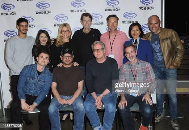 Warner Bros Animation's 'Justice League Vs The Fatal Five' Cast Crew backstage Elyes Gable Daniela Bobadilla Susan Eisenberg Bruce Tim George Newburn...