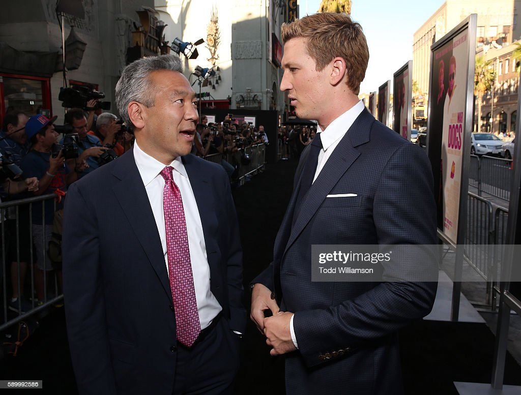 Warner Bros CEO Kevin Tsujihara and Miles Teller attend the premiere