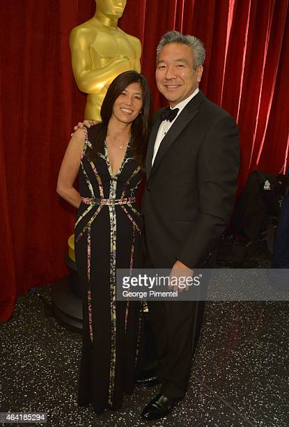 Warner Bros CEO Kevin Tsujihara and wife Sandy Tsujihara attend the 87th Annual Academy Awards at Hollywood Highland Center on February 22 2015 in...