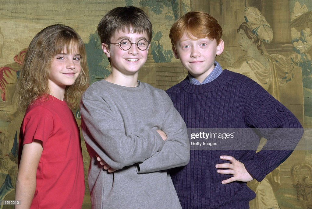 Warner Bros. Pictures announced August 21, 2000 that the young actor Daniel Radcliffe, center, has been named as the young actor who will play Harry Potter, in the upcoming film adaptation of the popular books by J.K. Rowling. Newcomers Rupert Grint, right, and Emma Watson will be taking on the roles of Ron and Hermione, Harry's best friends at Hogwarts.