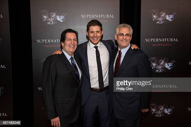 Warner Bros Television Group president Peter Roth actor Jensen Ackles and CW Network president Peter Pedowitz attend the Supernatural 200th episode...