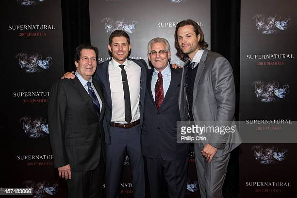 Warner Bros Television Group president Peter Roth Supernatural actors Jensen Ackles Jared Padalecki and CW Network president Peter Pedowitz attend...
