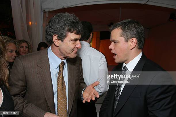 Warner Bros's Alan Horn and Matt Damon during Warner Bros Pictures Village Roadshow Pictures Jerry Weintraub and Section 8 Productions Host the North...