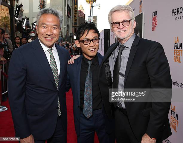 Warner Brother's CEO Kevin Tsujihara James Wan and Producer Rob Cowan attend the Los Angeles Film Festival The Conjuring 2 Premiere at TCL Chinese...