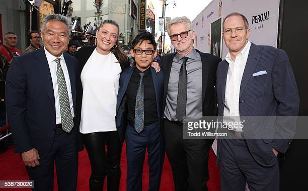 Warner Brother's CEO Kevin Tsujihara New Line Cinema's President Operations Content Strategy Carolyn Blackwood James Wan and Producer Rob Cowan and...