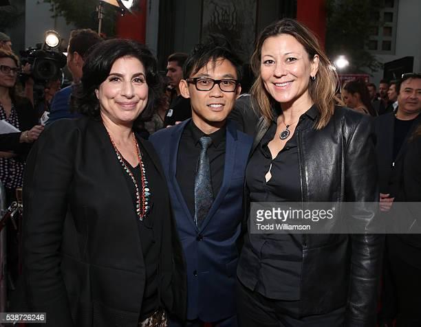 Warner Brothers' President of Worldwide Marketing Sue Kroll Filmmaker James Wan and Warner Brothers' President of Distribution Veronika Kwan...