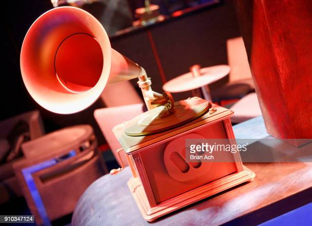 Warner Music Group branding is displayed on a GRAMMY award trophy during the Warner Music Group PreGrammy Party in association with V Magazine on...