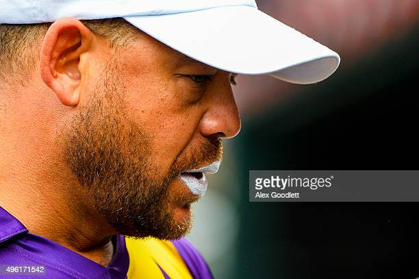 Warne's Warriors player Andrew Symonds looks on during a match in the Cricket AllStars Series at Citi Field on November 7 2015 in the Queens Borough...