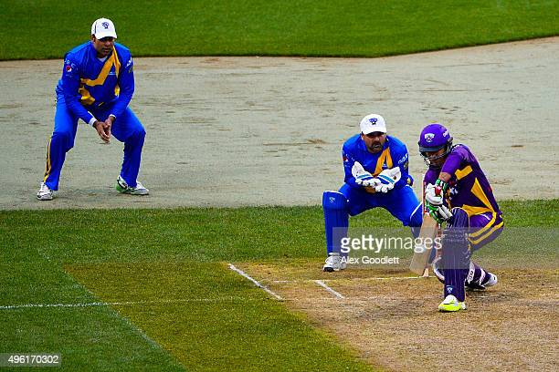 Warne's Warriors player Ricky Ponting hits during a match against Sachin's Blasters in the Cricket AllStars Series at Citi Field on November 7 2015...