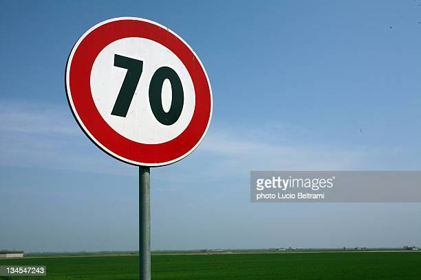 Warning 70MPH road sign