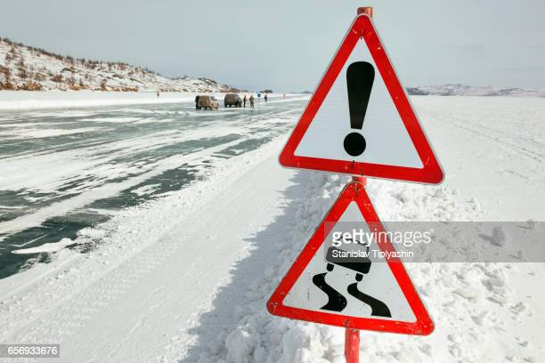 Warning before the icy road