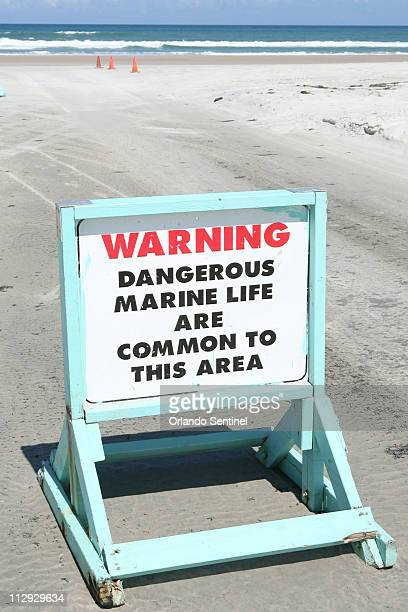 A warning is posted for swimmers at New Smyrna Beach in Florida