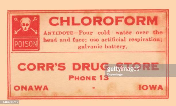 Warning label from a pharmacy bottle of 'Chloroform' early twentieth century