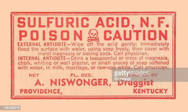 Warning label from a pharmacy bottle of 'Sulfuric Acid NF' early twentieth century