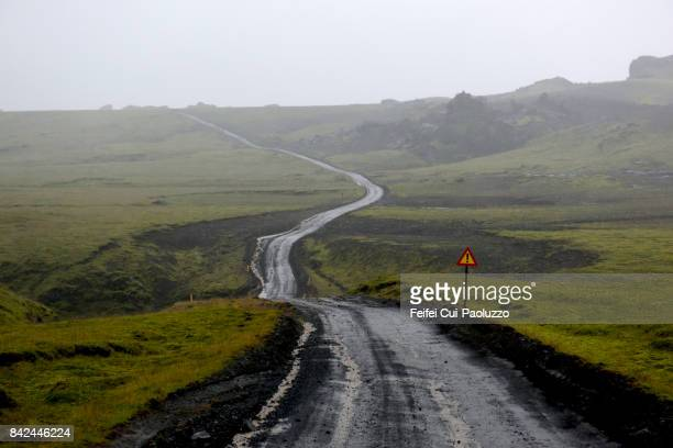 Warning road sign at Hofdabrekkuheidi South Iceland