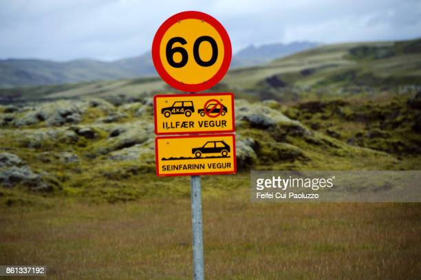 warning road sign near eldgja, south-central iceland. - number 60 stock photos and pictures