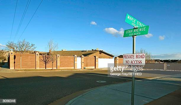 A warning sign and a large wall surrounds the compound of Warren Jeff's the prophet leader of the Fundamentalist Church of Jesus Christ of Latter Day...