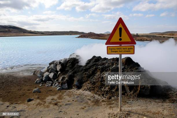 Warning sign at Bjarnaflag geothermal power station and diatomite factory, Reykjahlid, Northern region Iceland