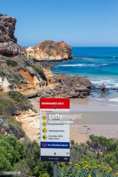 Warning sign at Murnanes Bay Great Ocean Road Victoria Australia