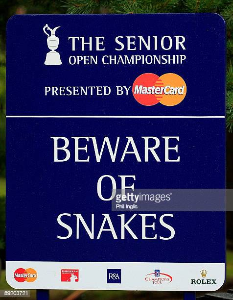 A warning sign during the first round of The Senior Open Championship presented by MasterCard held on the Old Course Sunningdale Golf Club on July 23...